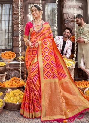 Banarasi Silk Weaving Orange and Rani Designer Saree