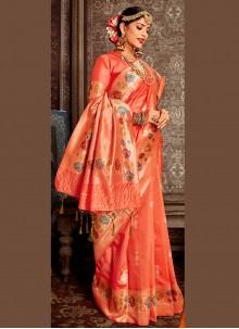 Banarasi Silk Weaving Orange Traditional Saree