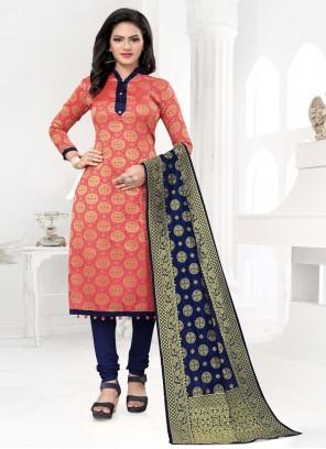 Banarasi Silk Weaving Peach Churidar Designer Suit