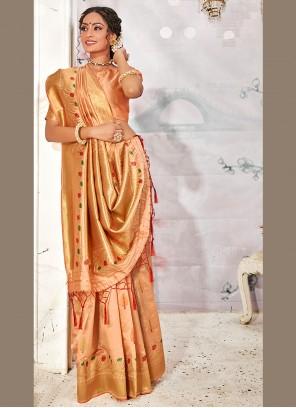 Banarasi Silk Weaving Peach Designer Traditional Saree