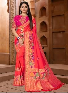Banarasi Silk Weaving Pink Classic Saree