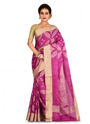 Banarasi Silk Weaving Pink Contemporary Saree