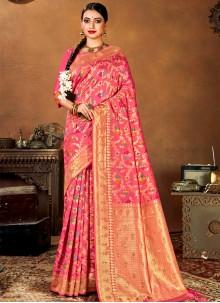Banarasi Silk Weaving Pink Traditional Saree