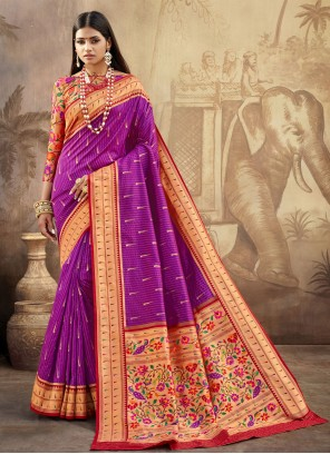 Banarasi Silk Weaving Purple Classic Designer Saree