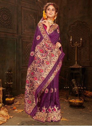 Banarasi Silk Weaving Purple Designer Saree