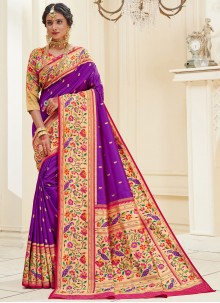 Banarasi Silk Weaving Purple Designer Traditional Saree