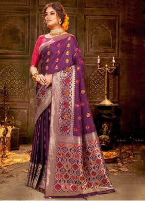 Banarasi Silk Weaving Purple Trendy Saree