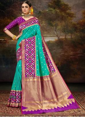 Banarasi Silk Weaving Rama Saree