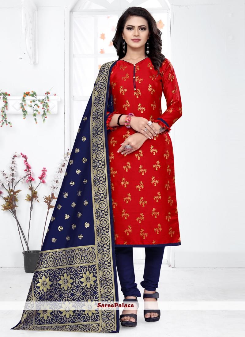 Banarasi Silk Weaving Red Churidar Designer Suit