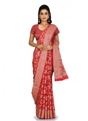 Banarasi Silk Weaving Red Classic Saree