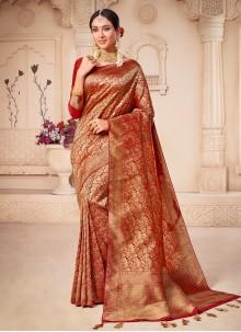 Banarasi Silk Weaving Red Contemporary Saree
