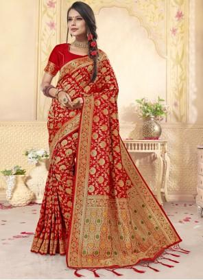 Banarasi Silk Weaving Red Trendy Saree