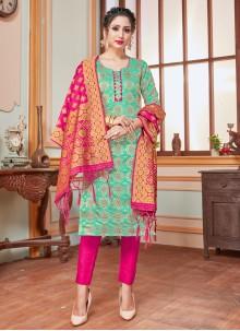Banarasi Silk Weaving Sea Green Salwar Suit