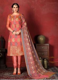 Banarasi Silk Weaving Salwar Suit in Peach