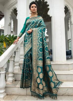Banarasi Silk Weaving Sea Green Traditional Designer Saree