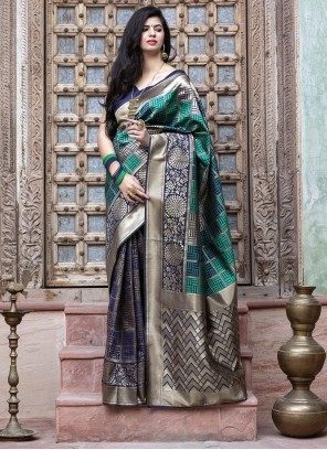 Banarasi Silk Weaving Blue Saree