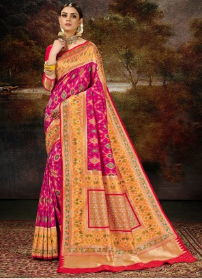 Banarasi Silk Weaving Saree in Magenta