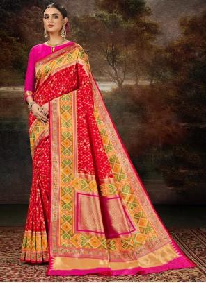 Banarasi Silk Weaving Saree in Multi Colour and Red