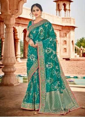 Banarasi Silk Weaving Silk Saree in Teal