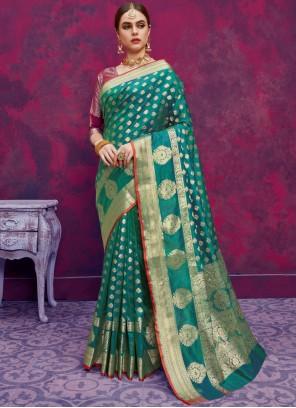 Banarasi Silk Weaving Teal Classic Designer Saree