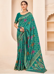 Banarasi Silk Weaving Teal Designer Traditional Saree