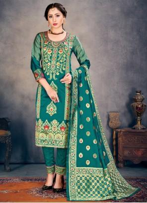Banarasi Silk Weaving Teal Pant Style Suit