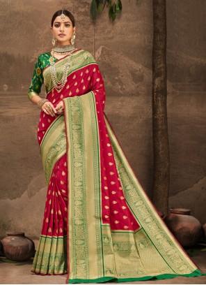 Red Banarasi Silk Weaving Traditional Designer Saree
