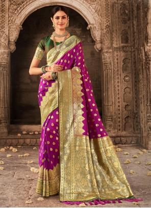 Banarasi Silk Weaving Purple Traditional Designer Saree