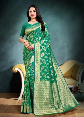 Banarasi Silk Weaving Traditional Designer Saree in Green