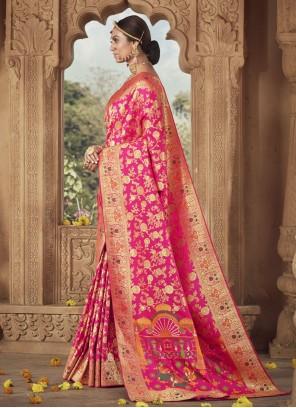 Banarasi Silk Weaving Traditional Designer Saree in Pink