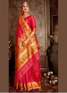 Banarasi Silk Weaving Traditional Designer Saree in Rani