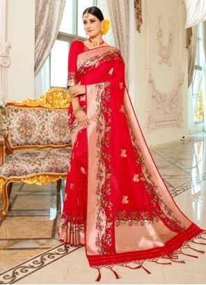 Banarasi Silk Weaving Traditional Designer Saree in Red