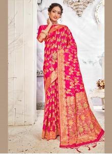 Banarasi Silk Weaving Hot Pink Traditional Saree