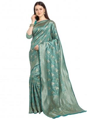 Banarasi Silk Weaving Sea Green Traditional Saree