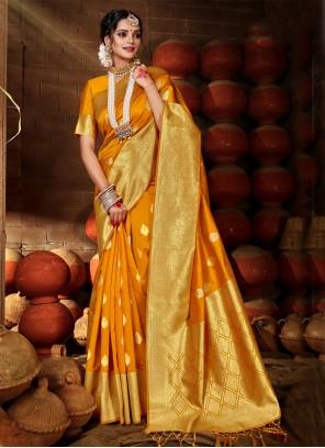 Banarasi Silk Weaving Yellow Traditional Saree
