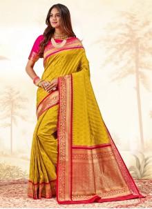 Yellow Banarasi Silk Weaving Traditional Saree