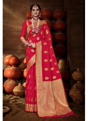 Banarasi Silk Weaving Traditional Saree in Rani