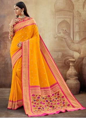 Banarasi Silk Weaving Trendy Saree in Mustard