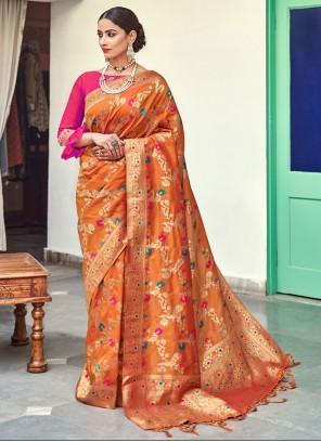 Banarasi Silk Weaving Trendy Saree in Orange