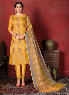 Banarasi Silk Weaving Yellow Designer Suit