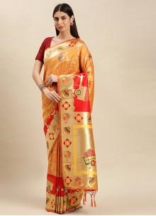Banarasi Silk Weaving Yellow Designer Traditional Saree
