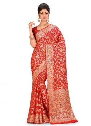 Red Banarasi Silk Wedding Bollywood Saree