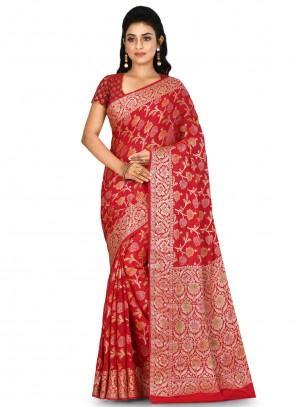 Banarasi Silk Wedding Red Bollywood Saree