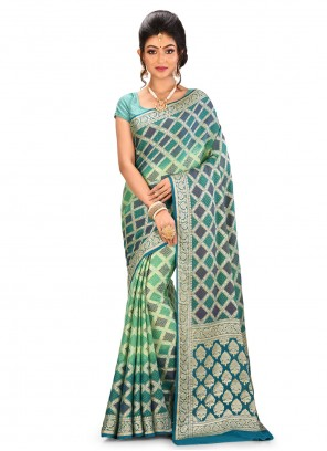 Multi Colour Banarasi Silk Wedding Designer Saree