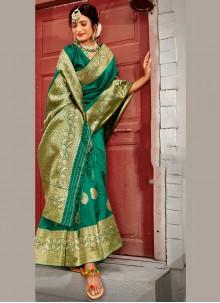 Banarasi Silk Wedding Green Designer Traditional Saree