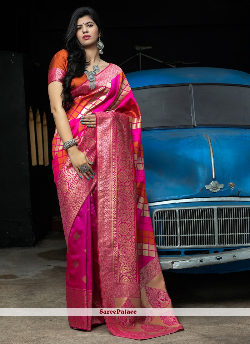 Banarasi Silk Wedding Hot Pink Designer Traditional Saree