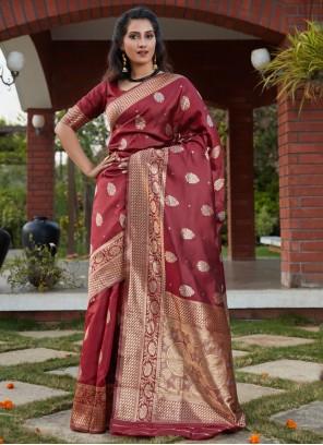 Banarasi Silk Wine Designer Traditional Saree