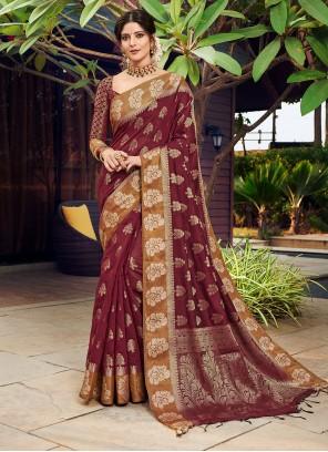 Banarasi Silk Wine Weaving Designer Traditional Saree