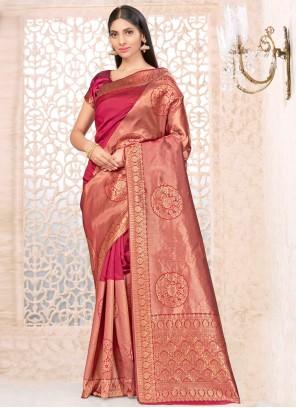 Banarasi Silk Wine Weaving Traditional Designer Saree