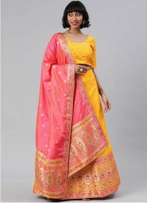 Banarasi Silk Yellow Woven A Line Lehenga Choli